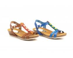 Sandalias Mujer Piel Azul Cuero Cuña Corcho Gel MULLER-2122 44,90€