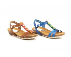 Sandals Womens Leather Blue Leather Wedge Cork Gel Muller MULLER-212244,90 €
