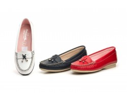 Kiowa Women's Moccasin Leather Navy Leather White Red Tassels Antonella ANTONELLA-203445,50 €