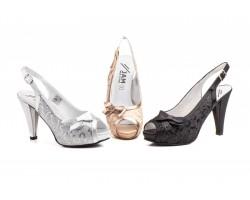 Zapatos Fiesta Mujer Champán Negro Plata Plataforma Tacón Lazo JAM-5470 59,90€