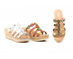 Woman Sandals Silver Multi Bronze Leather Wedge Flowers JAM JAM-251539,90 €