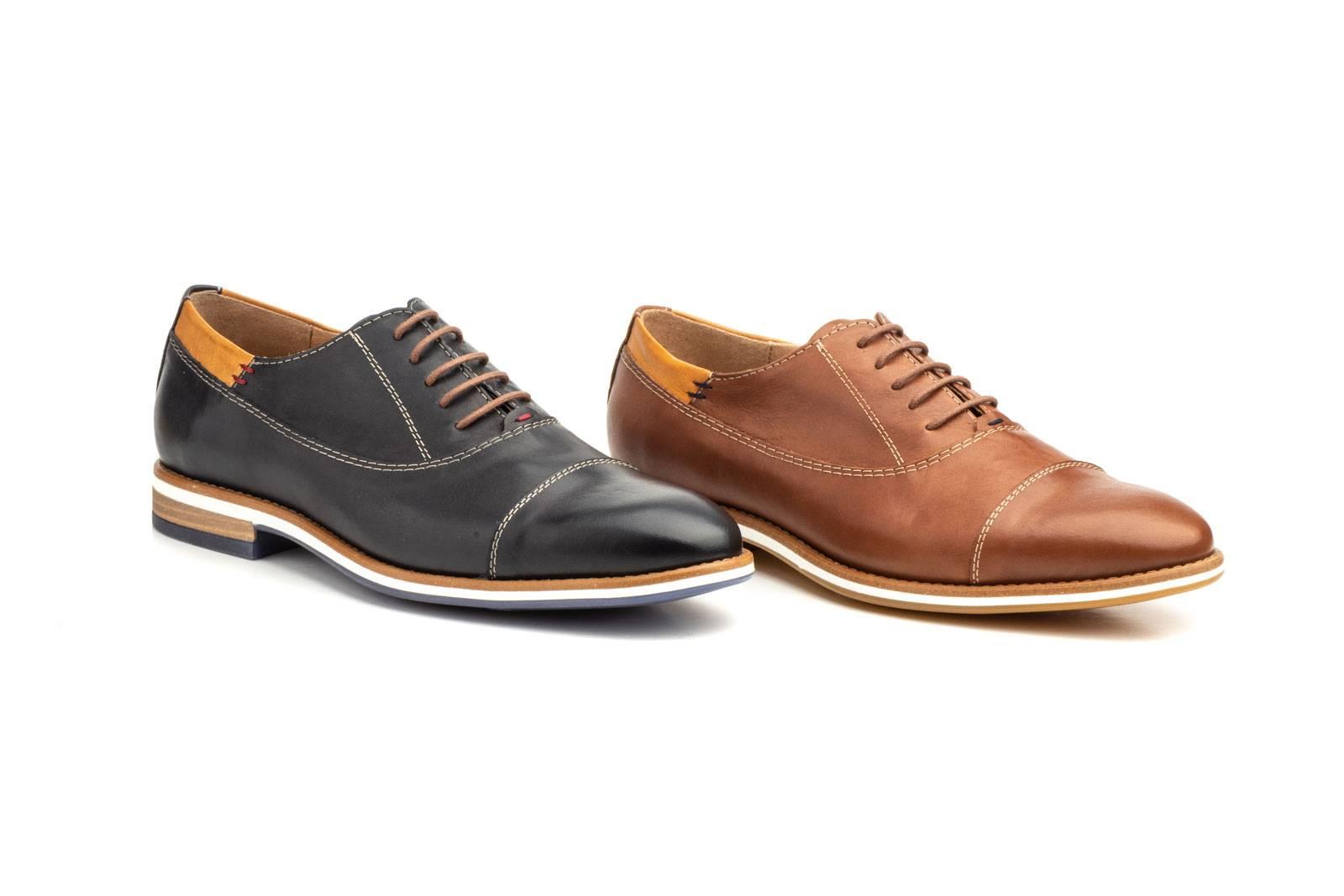 Zapatos Oxford Hombre Piel Napa Cuero Polisander Azul Tinta