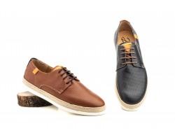 Zapatos Derby Hombre Piel Napa Azul Cuero Yute DILUIS-3182 59,90€