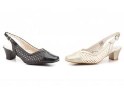 Zapatos Mujer Piel Picado Platino Negro Tacón JAM-5502 49,90€