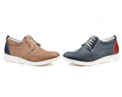 Derby Shoes Man Perforated Leather Marine Taupe Cordones Pepe Agulló PEPE-AGULLO-871049,90€