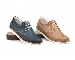 Derby Shoes Man Perforated Marine Leather Taupe Pepe Agulló PEPE-AGULLO-861149,90€