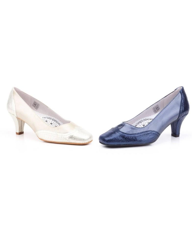 c00188db9668 Zapatos Mujer Piel Azul Platino Serpiente Tacón