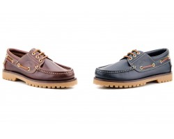 Nautical Men's Leather Pull Marron Navy Thick Sole Stitched Iberian IBERICO-780249,90€