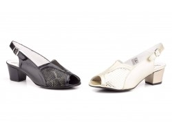 Women's Shoes Black Leather Platinum Lycra Wide Special Heel Buckle JAM-502749,90 €