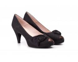 Zapatos Mujer Raso Negro Plataforma Tacón JENNIFER-PALLARES-720025 59,90€