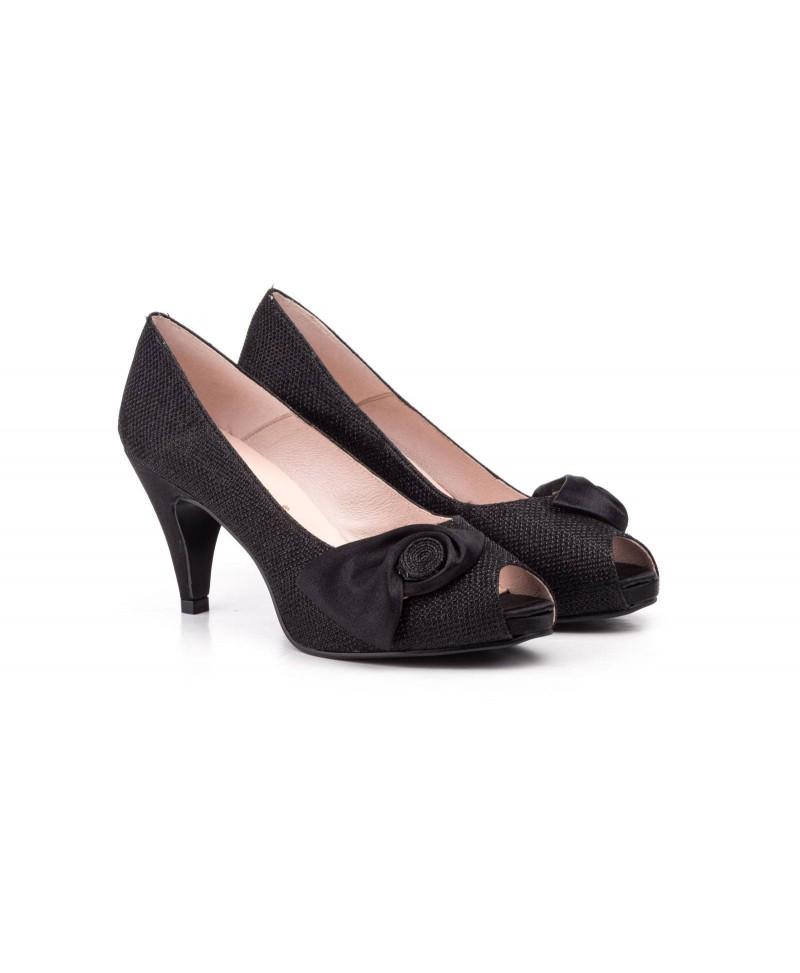Women Shoes Black Satin Platform Heel Jennifer Pallares JENNIFER-PALLARES-72002559,90€