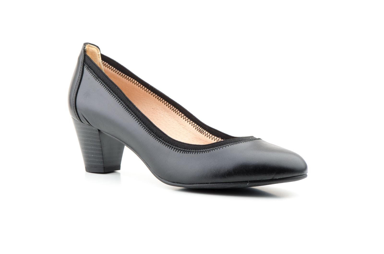 Women's Shoes Black Leather Heel Large Sizes Zancadas JAM-380453,90€