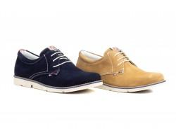 Shoes Blucher Man Leather Serraje Taupe Marino PEPE-AGULLO-861049,00€