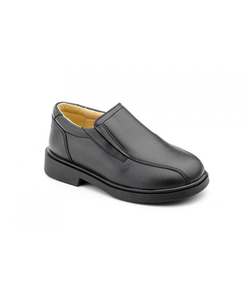 Shoes Boy Black Leather Elastic Schoolboy