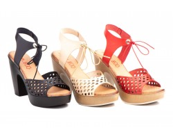Women's Sandals Laser Beige Black Gel Platform Heel JAM-N10459,90€