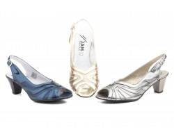 Women's Shoes Navy Leather Platinum Lead Heel JAM-580449,90 €