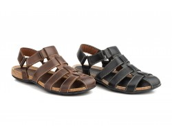 Sandals Men Leather Black Brown Velcro Pepe Agulló PEPE-AGULLO-90239,90 €