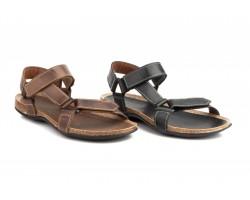 Sandals Men Leather Black Brown Velcro Pepe Agulló PEPE-AGULLO-90039,90€