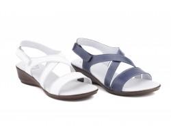 Sandalias Mujer Piel Marino Blanco Cuña CB-754 39,90€