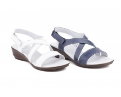 Woman White Leather Wedge Sandals CB-75439,90€