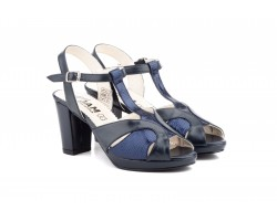 Zapatos Mujer Piel Marino Plataforma Tacón JAM-5515 59,90€