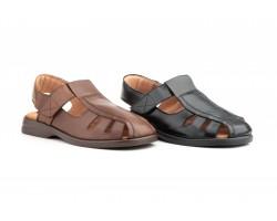Men's Sandals Black Leather Type Velcro Good Ibérico IBERICO-140939,90€