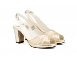 Zapatos Mujer Piel Platino Destalonado Plataforma Tacón JAM-5526 0,00€