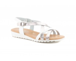 Woman White Leather Sandals Silver JAM Gel Insole JAM-303234,89 €