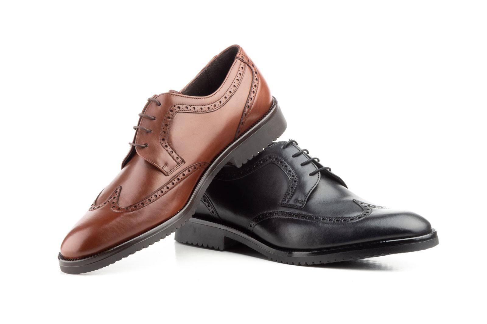 Zapatos Blucher Hombre Piel Negro Marrón