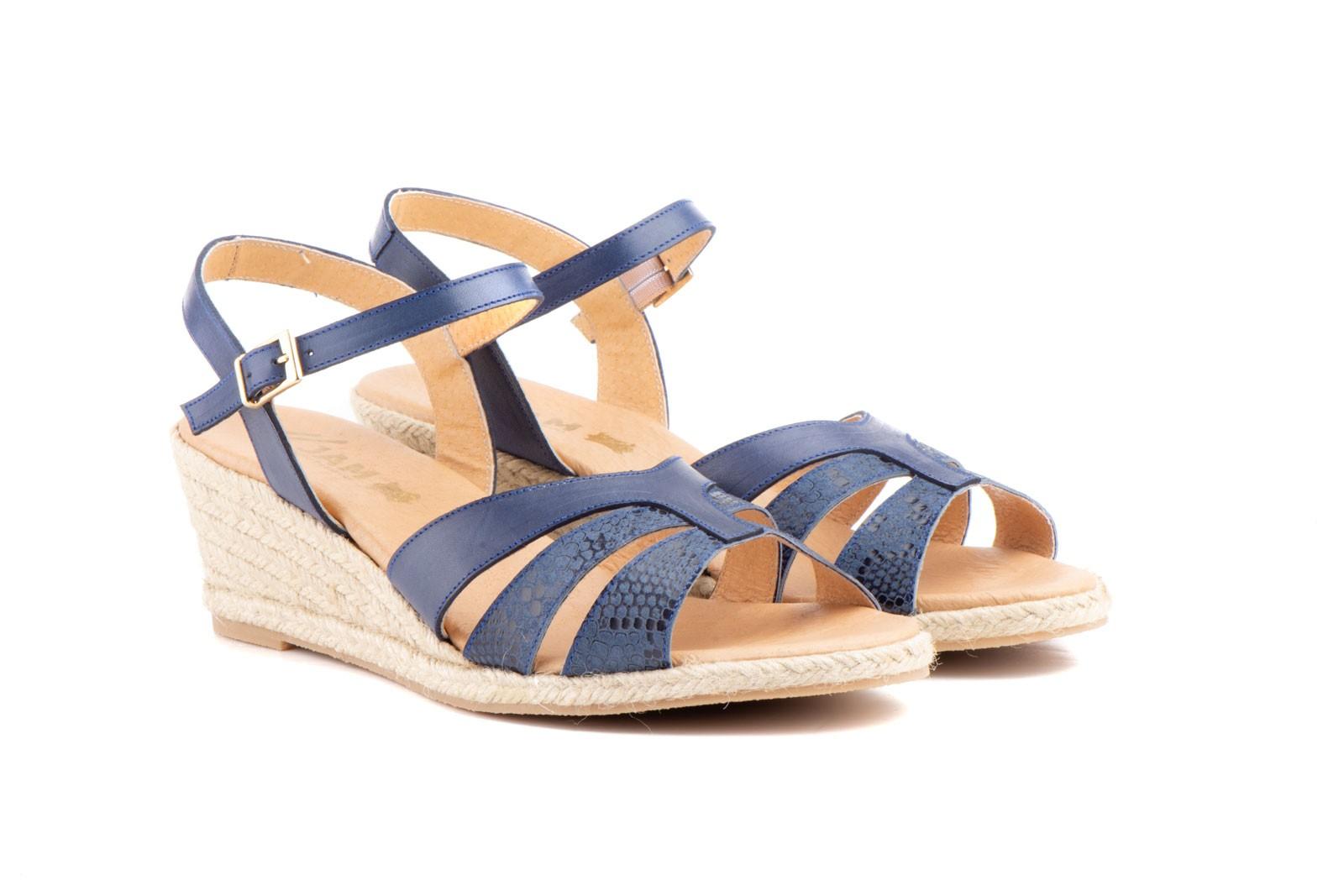 0f6dd4b15d5 Womens sandals navy leather wedge jute plus size jam zancadas xxl jpg  1600x1067 Navy blue womens