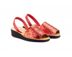 Avacas Menorquinas Mujer Piel Glitter Cuña ZANCADAS-1364 25,90€