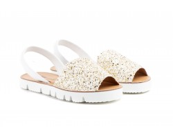 Avacas Menorquina Women Leather Glitter White-Gold Strides ZANCADAS-55525,90 €