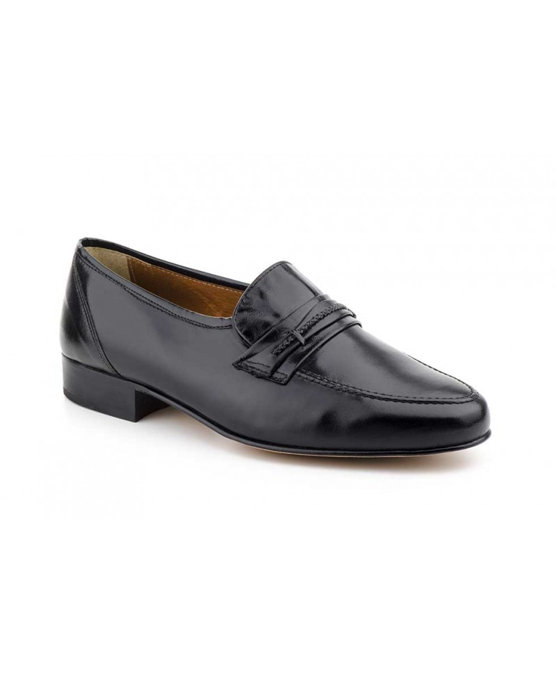 Black Leather Men's Loafer Shoes Nikkoe Leather Sole NIKKOE-16559,50€