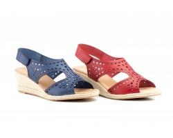Women's Sandals Navy Leather Wedge Jute Plus Size JAM ZANCADAS-2271-XXL53,90€