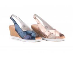 Sandals Women Leather Marino Rosa Metallic Wedge JAM JAM-582139,90 €