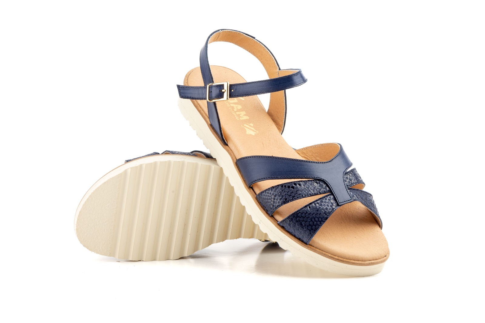 Women Sandals Navy Leather Floor Flat Eva Sizes Large JAM ZANCADAS-2050P-XXL53,90€