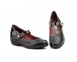 Zapatos Mujer Piel Negro Cuña Velcro ANNORA-843 52,50€