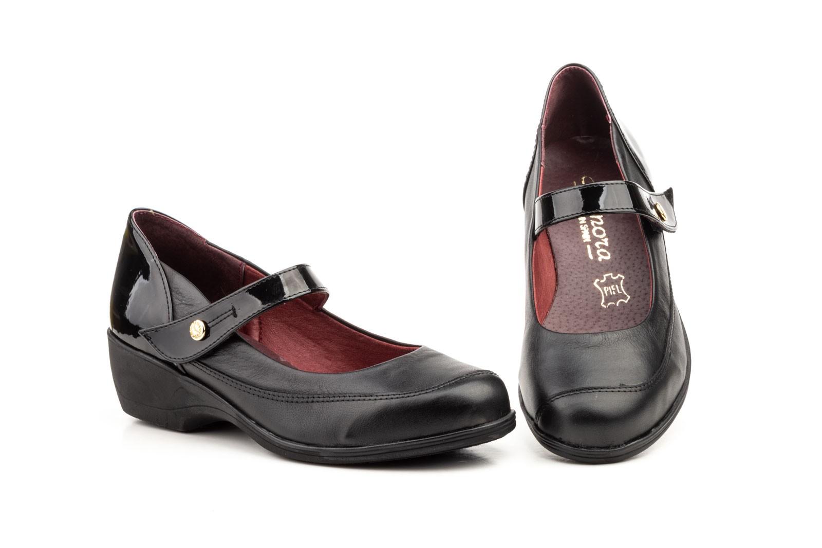 Zapatos Mujer Piel Negro Cuña Velcro ANNORA-84352,50€