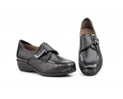 Zapatos Mujer Ancho Especial Piel Napa Negro Velcro Cuña GAVIS-6872 59,50€