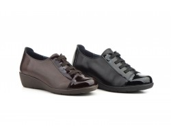 Zapatos Mujer Piel Negro y Marrón Elásticos Cuña MORXIVA-301 39,90€