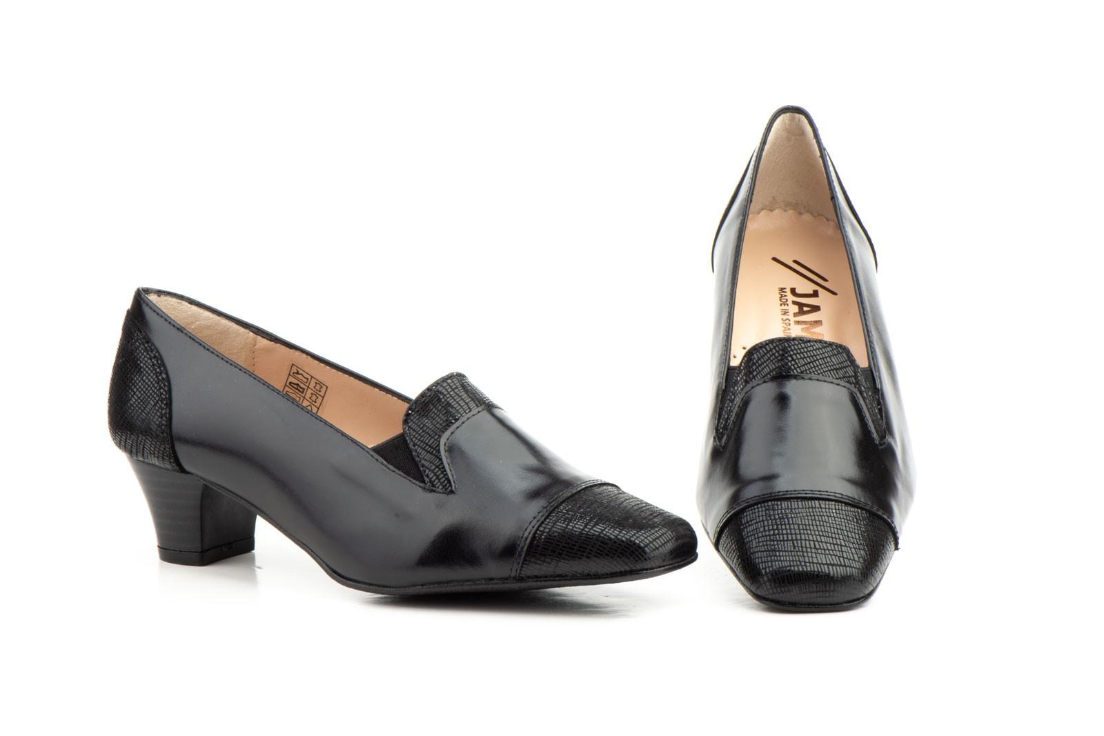 a16bb12f805 Zapatos Mujer Vestir Piel Negro Tacón JAM-5219 52