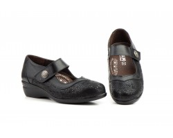 Zapatos Mujer Ancho Especial Licra Piel Negro Velcro JAM-784 49,00€