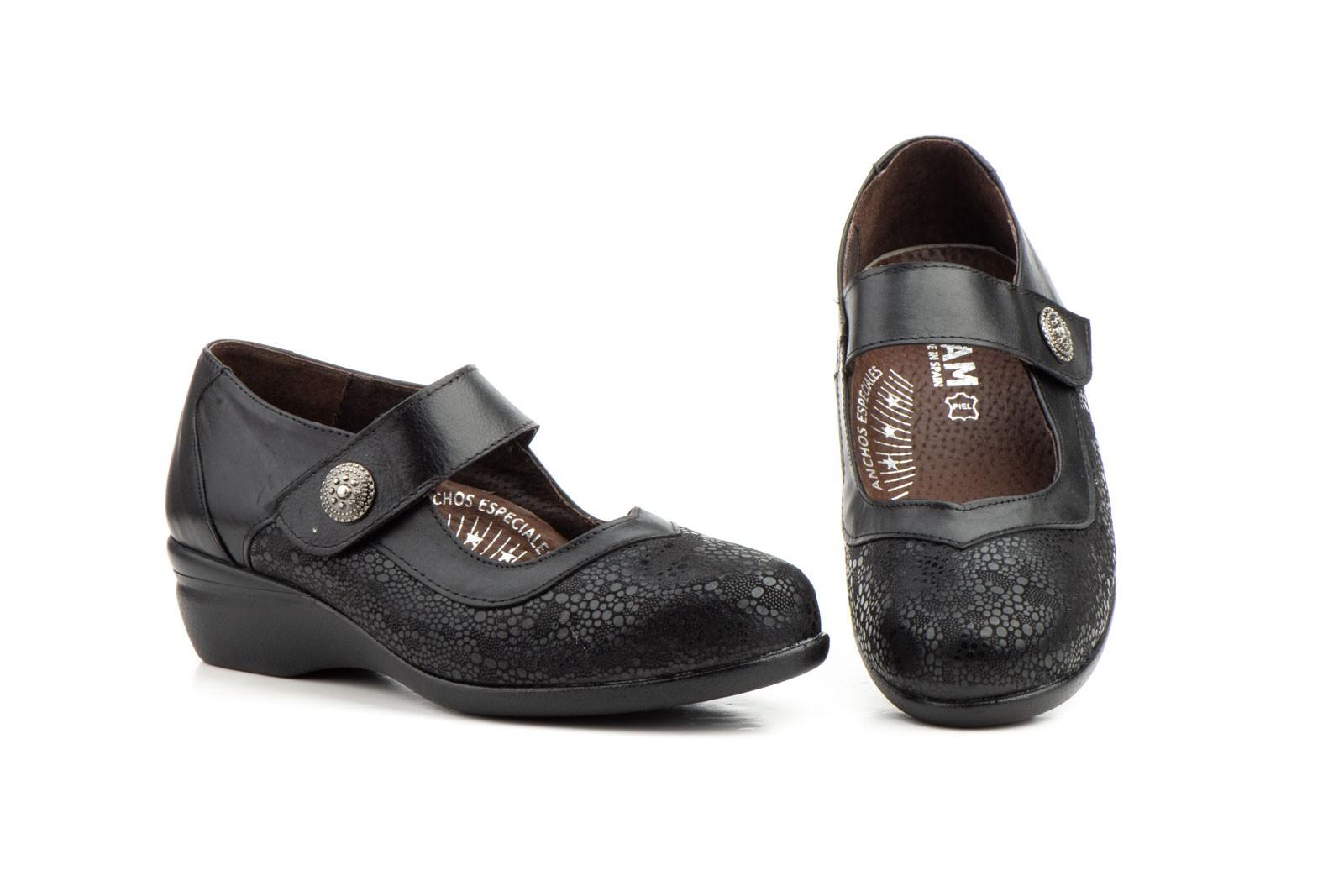 Zapatos Comodos Mujer Licra Piel Negro Velcro JAM-78449,00€
