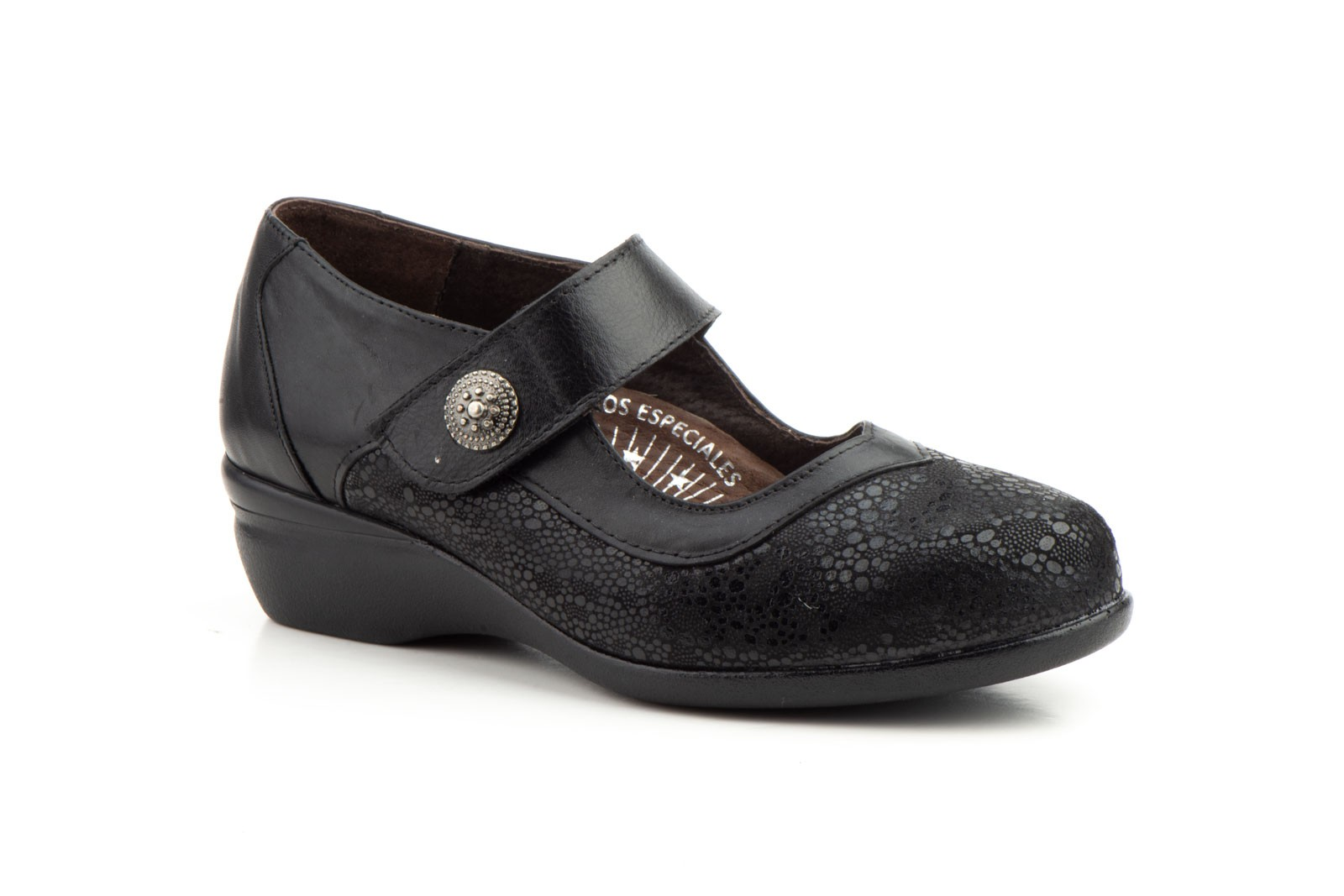 Zapatos Mujer Ancho Especial Licra Piel Negro Velcro
