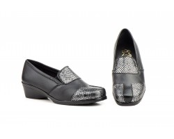 Zapatos Mujer Piel Negro Plata Cuña JAM-63135,00€