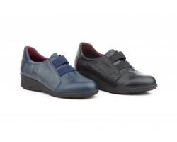 Zapatos Mujer Piel Negro Marino Elásticos Cuña MORXIVA-92239,90€