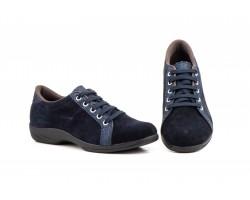 Zapatos Mujer Piel Serraje Marino Marrón Cordones JAM-430 49,00€