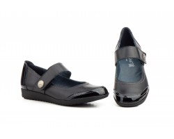 Zapatos Merceditas Mujer Piel Negro Charol Velcro MORXIVA-926 39,90€