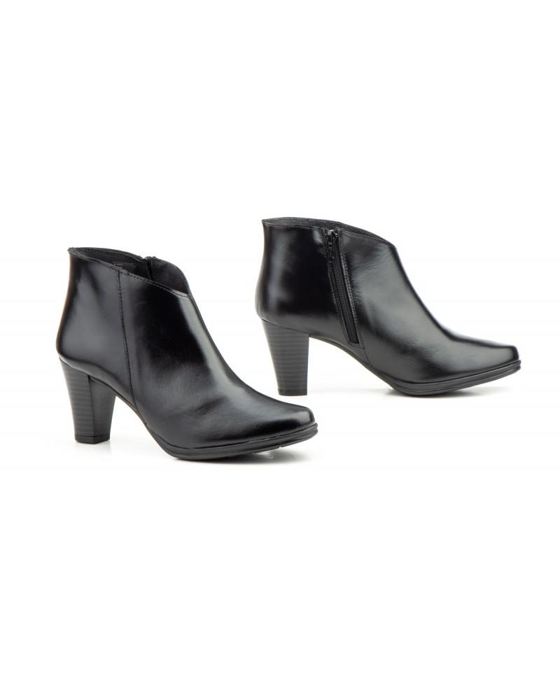 tiendas populares auténtico moda mejor valorada Botines Mujer Piel Negro Tacón Alto Cremallera