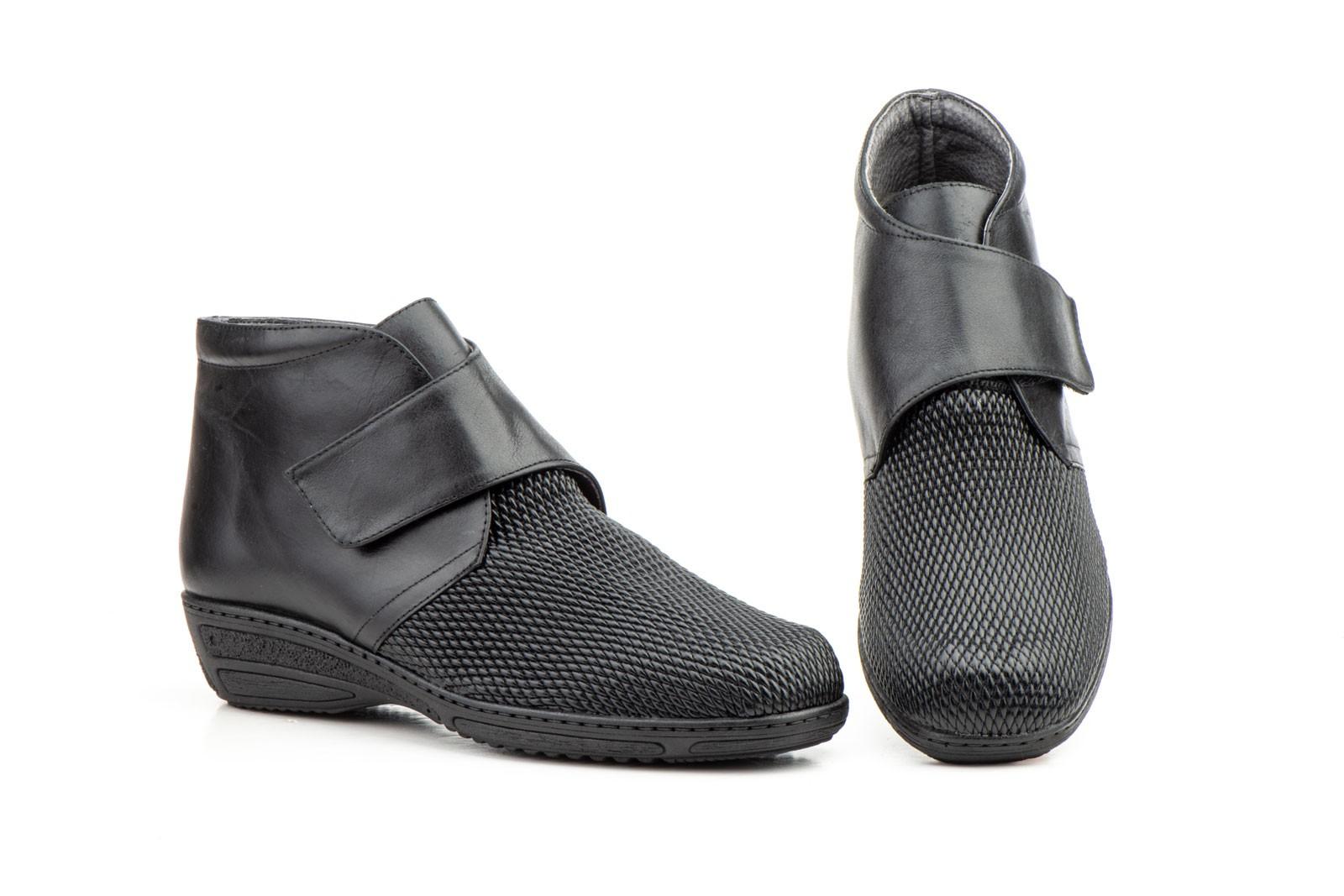 proporcionar una gran selección de seleccione para el último tienda oficial Botines Mujer Piel Negro Pala Licra Cuña Velcro
